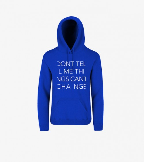 Pic a youth unisex boys and girls blue hoodie sweatshirt with a white text activism