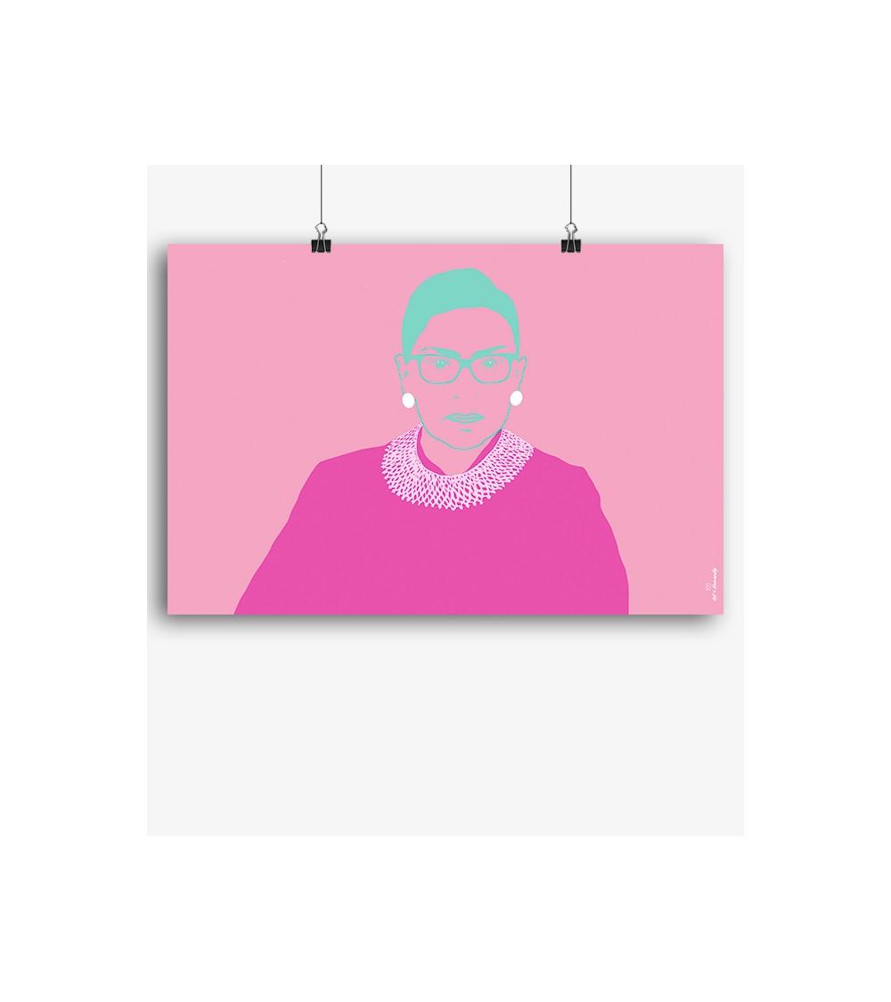 Pic art print RBG Portrait pop pink green white colorful ruth Bader ginsburg