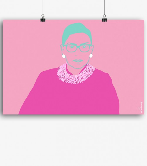 Pic art print RBG Portrait pop pink green white colorful ruth Bader ginsburg