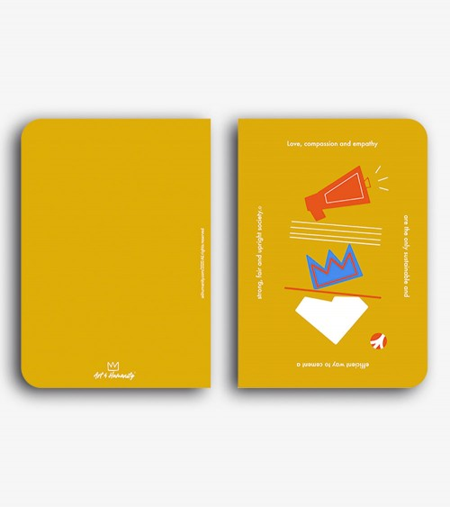 Pic of a notebook from an original digital artwork in yellow, white, orange and blue colors