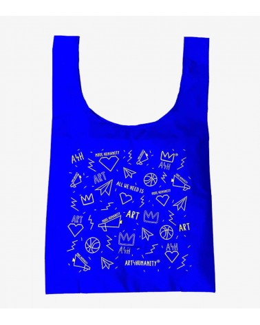 Pic of a reusable bag , made from 40% recycled nylon with a digital graphic